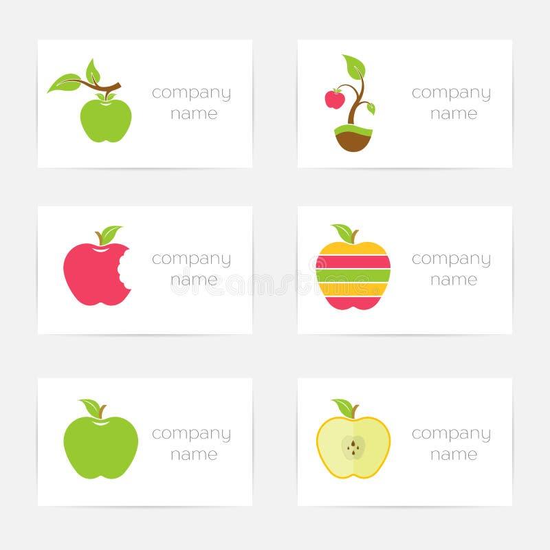 Insieme di vettore del logos delle mele illustrazione di stock