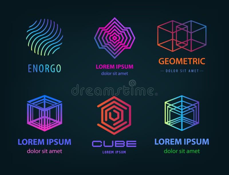 Insieme di vettore del logos geometrico astratto lineare Del cubo retro 90 s stile del profilo Cubo, cerchio illustrazione vettoriale