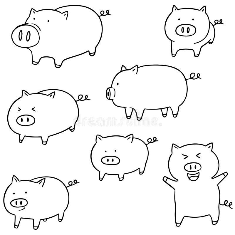 Insieme di vettore del maiale illustrazione di stock