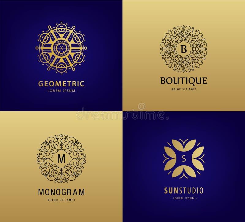 Insieme di vettore del monogramma di lusso, logos d'annata Icone astratte dell'ornamento del cerchio per i cosmetici, hotel, staz illustrazione di stock