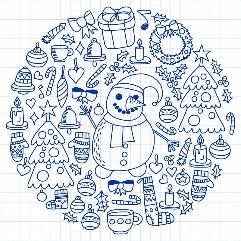 Insieme di vettore del Natale, icone di festa nello stile di scarabocchio Dipinto, disegnato con una penna, su un foglio di carta illustrazione di stock
