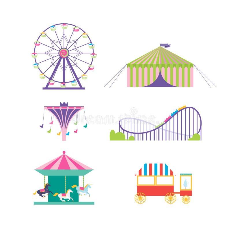 Insieme di vettore del parco di divertimenti Ruota panoramica, montagne russe, popcorn royalty illustrazione gratis