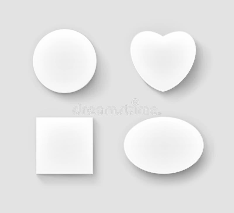 Insieme di vettore del quadrato ovale circolare rotondo bianco in bianco e nella forma dei contenitori di regalo del cuore illustrazione di stock