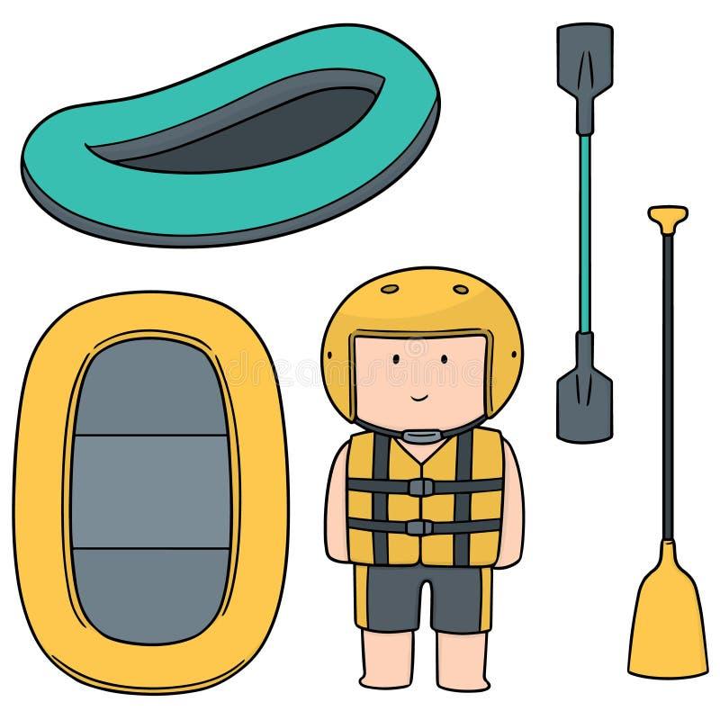 Insieme di vettore del rafting gonfiabile della barca royalty illustrazione gratis