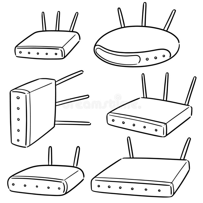 Insieme di vettore del router senza fili illustrazione vettoriale