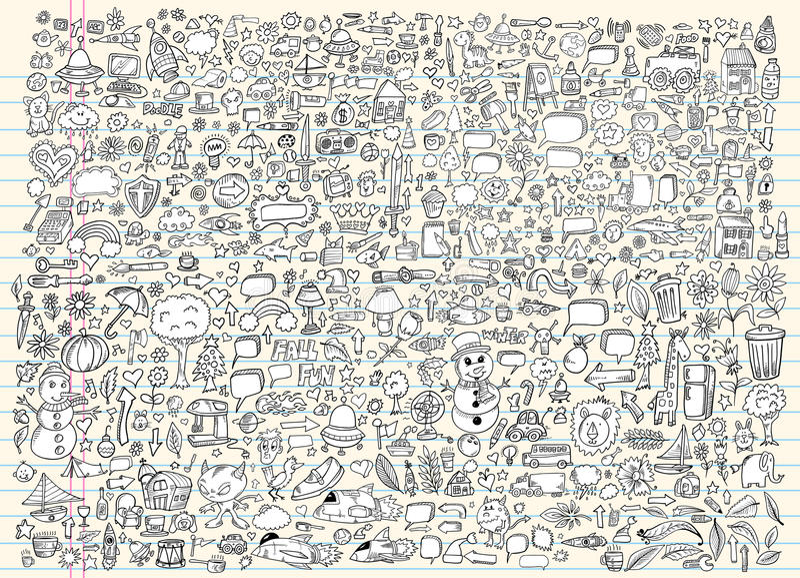Insieme di vettore del taccuino di abbozzo di Doodle illustrazione di stock