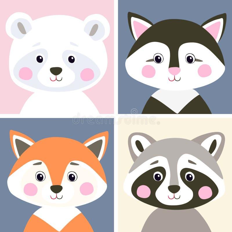 Insieme di vettore del terreno boscoso e degli animali da compagnia svegli Orso polare, gattino, volpe e procione divertenti nell royalty illustrazione gratis