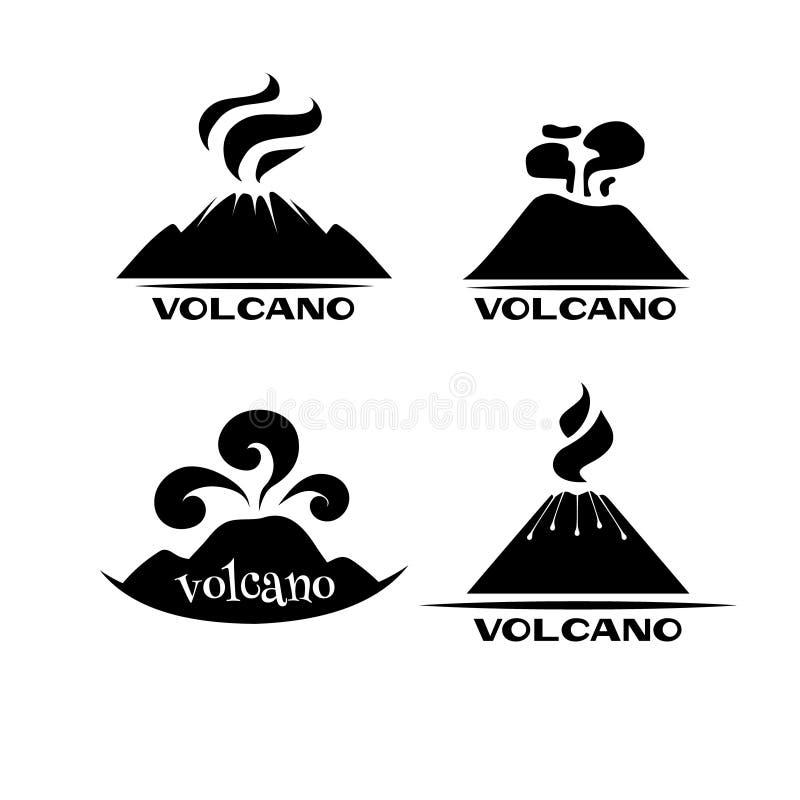 Insieme di vettore del vulcano Logotypes e segni illustrazione di stock