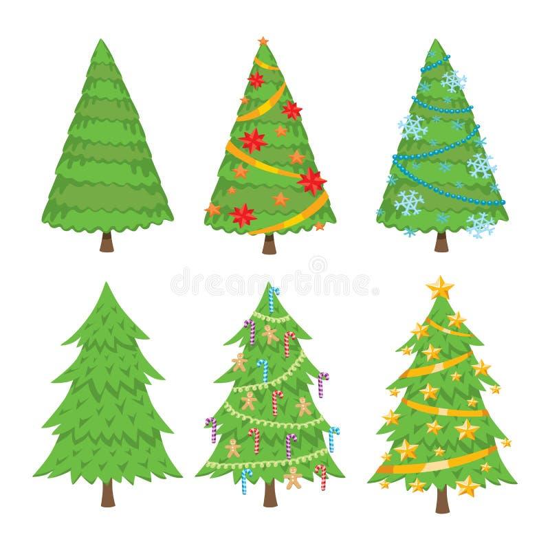 Insieme di vettore dell'albero di Natale illustrazione di stock