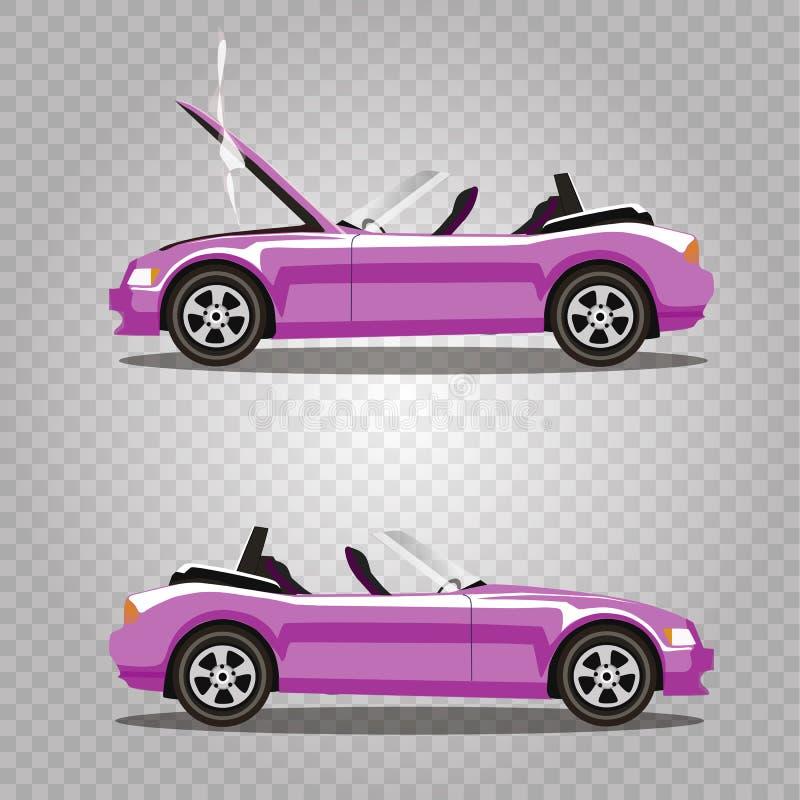 Insieme di vettore dell'automobile sportiva rosa del cabriolet del fumetto rotto prima e dopo l'incidente isolata royalty illustrazione gratis