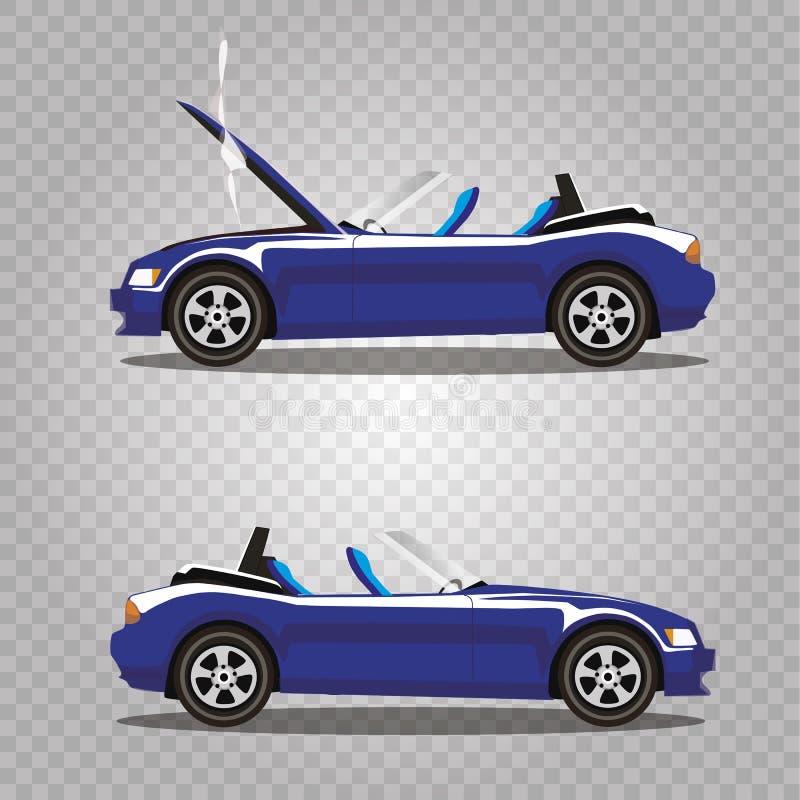 Insieme di vettore dell'automobile sportiva rotta del cabriolet dei blu navy del fumetto prima e dopo l'incidente isolata illustrazione vettoriale