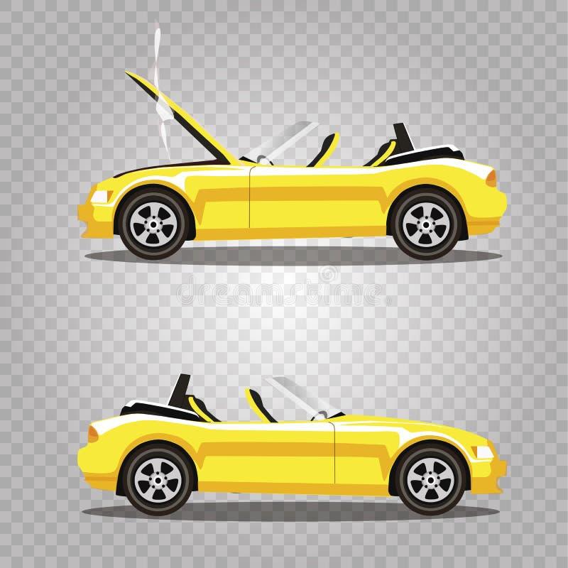 Insieme di vettore dell'automobile sportiva rotta del cabriolet di giallo del fumetto prima e dopo l'incidente isolata illustrazione di stock
