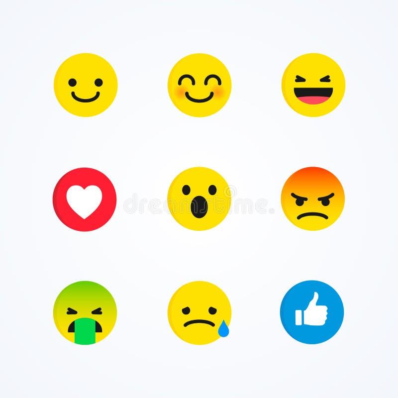 Insieme di vettore dell'emoticon sociale di reazioni di media di stile piano di progettazione illustrazione vettoriale