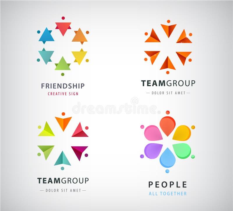 Insieme di vettore dell'essere umano, logos del gruppo di cerchio della gente illustrazione vettoriale
