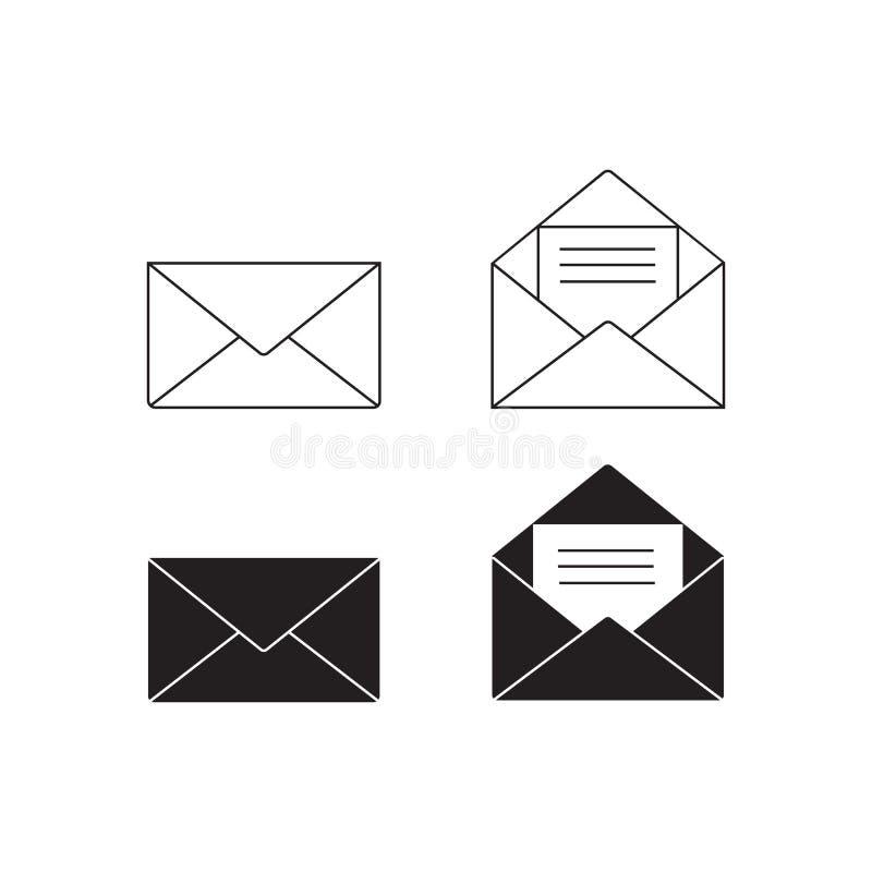 Insieme di vettore dell'icona del email, segno della busta, simbolo della posta Illustrazione di vettore illustrazione vettoriale