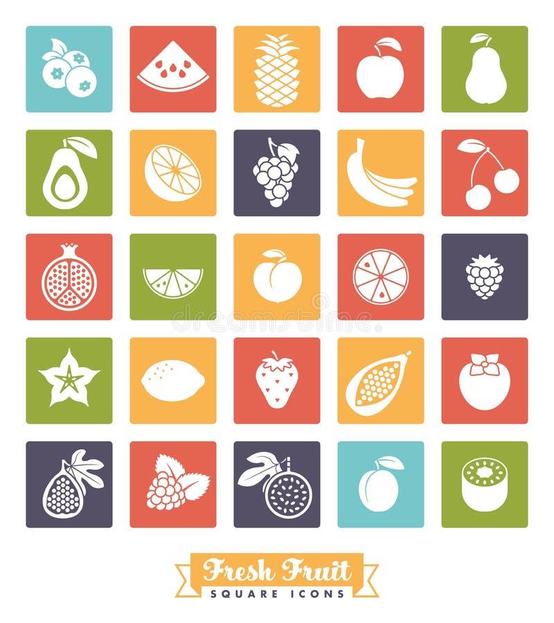 Insieme di vettore dell'icona di colore del quadrato dell'assortimento della frutta illustrazione di stock