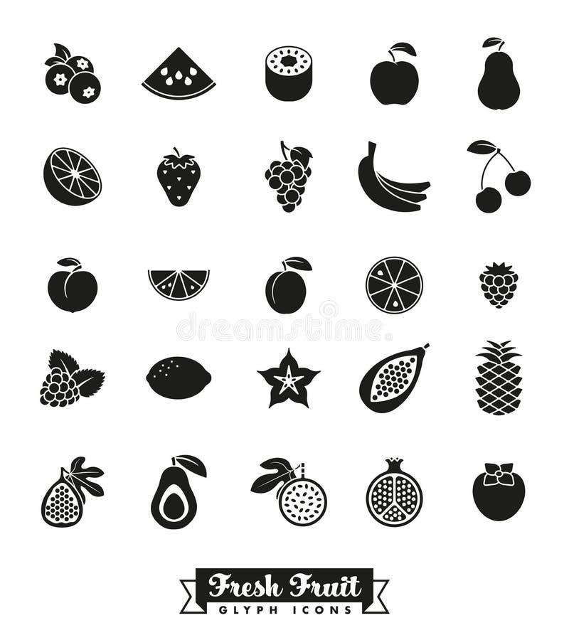 Insieme di vettore dell'icona di glifo dell'assortimento della frutta illustrazione vettoriale