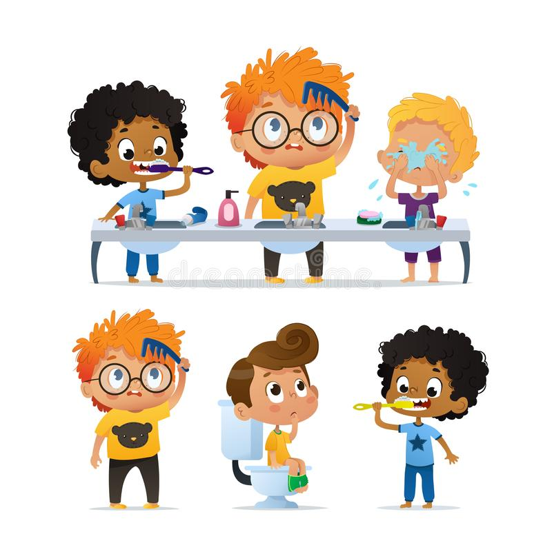 Insieme di vettore dell'illustrazione dei bambini multirazziali di asilo sveglio che fanno routine di mattina Ragazzo che pulisce illustrazione di stock