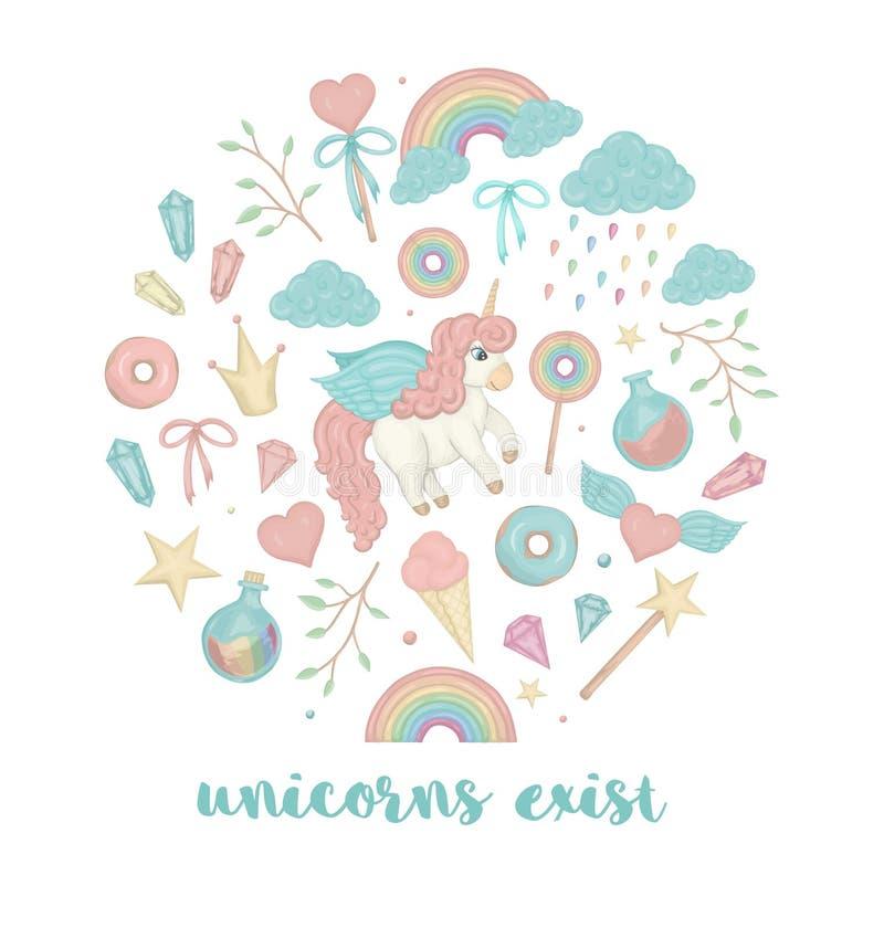 Insieme di vettore dell'unicorno sveglio di stile dell'acquerello, arcobaleno, nuvole, guarnizioni di gomma piuma, corona, crista illustrazione di stock