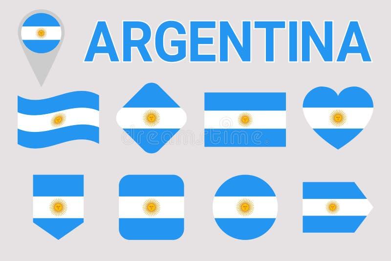 Insieme di vettore della bandiera dell'Argentina Figure geometriche Stile piano Raccolta argentina di simboli del natioanl Web, p illustrazione di stock