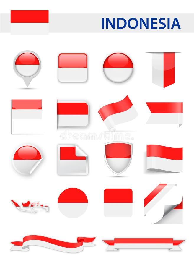 Insieme di vettore della bandiera dell'Indonesia illustrazione vettoriale