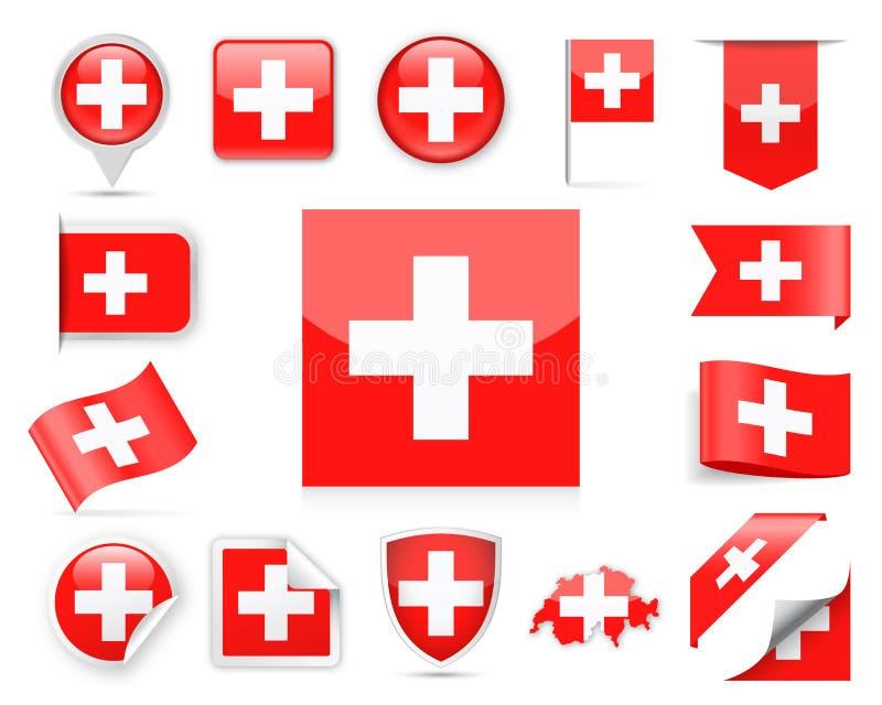 Insieme di vettore della bandiera della Svizzera illustrazione vettoriale