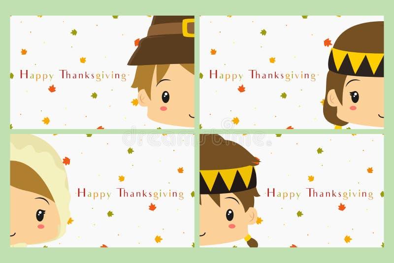 Insieme di vettore della carta di celebrazione di ringraziamento illustrazione di stock