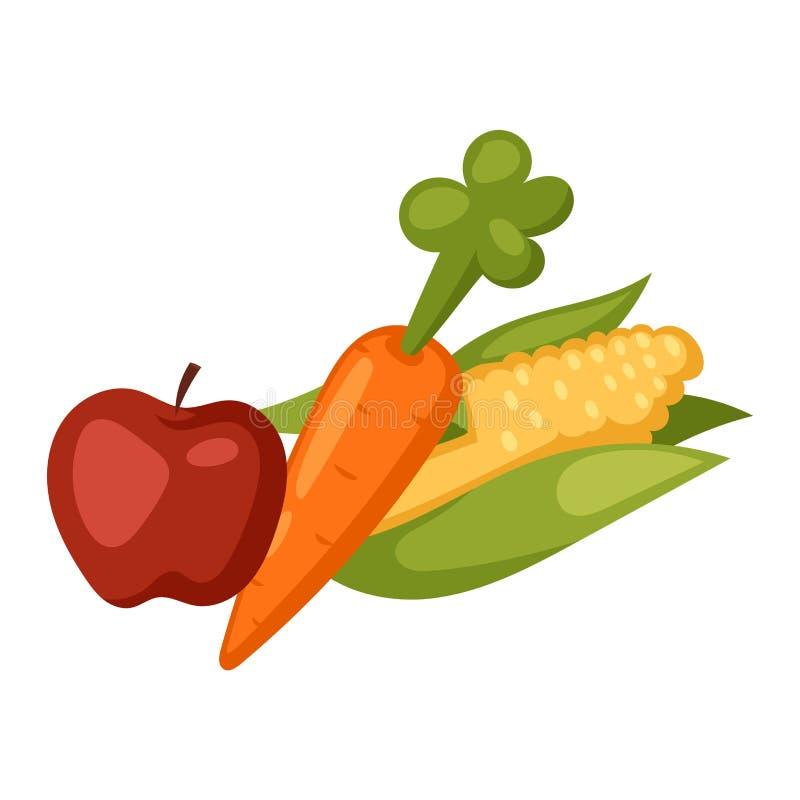 Insieme di vettore della cellulosa dell'alimento delle verdure royalty illustrazione gratis