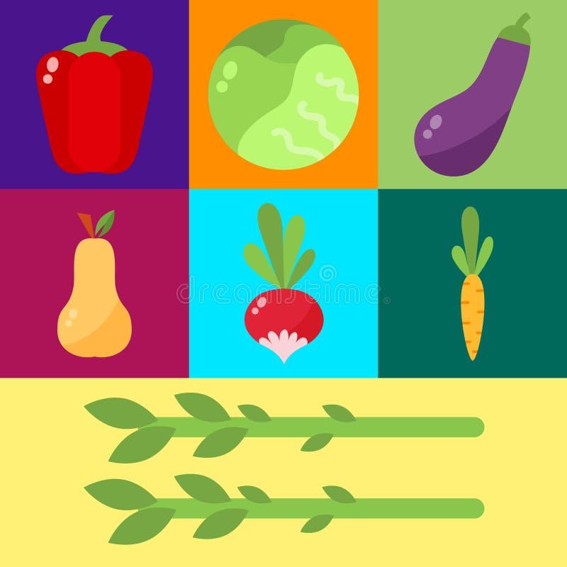 Insieme di vettore della cellulosa dell'alimento delle verdure illustrazione vettoriale