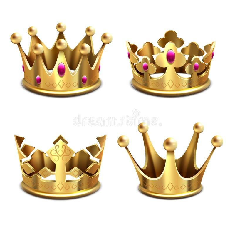 Insieme di vettore della corona dell'oro 3d Monarchia ed attributi reali di re illustrazione vettoriale