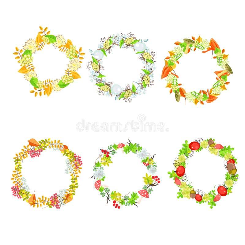 Insieme di vettore della corona della foglia floreale di autunno illustrazione vettoriale