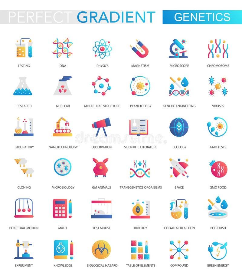 Insieme di vettore della genetica di pendenza e delle icone piane d'avanguardia di biochimica illustrazione di stock
