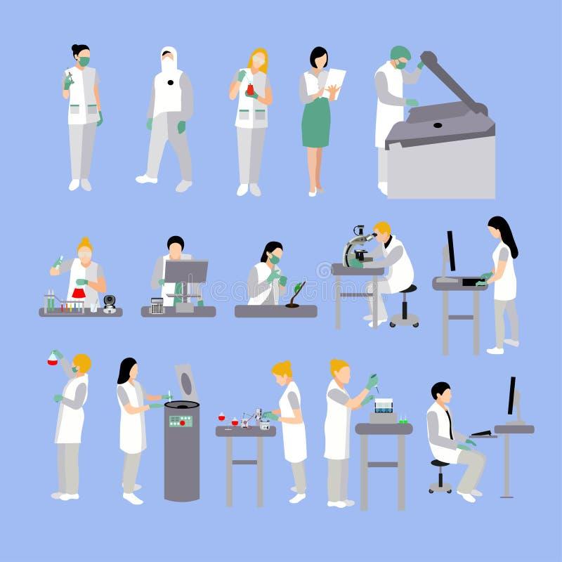 Insieme di vettore della gente in laboratorio medico Medici e funzionamento dello scienziato, illustrazione di vettore del labora royalty illustrazione gratis