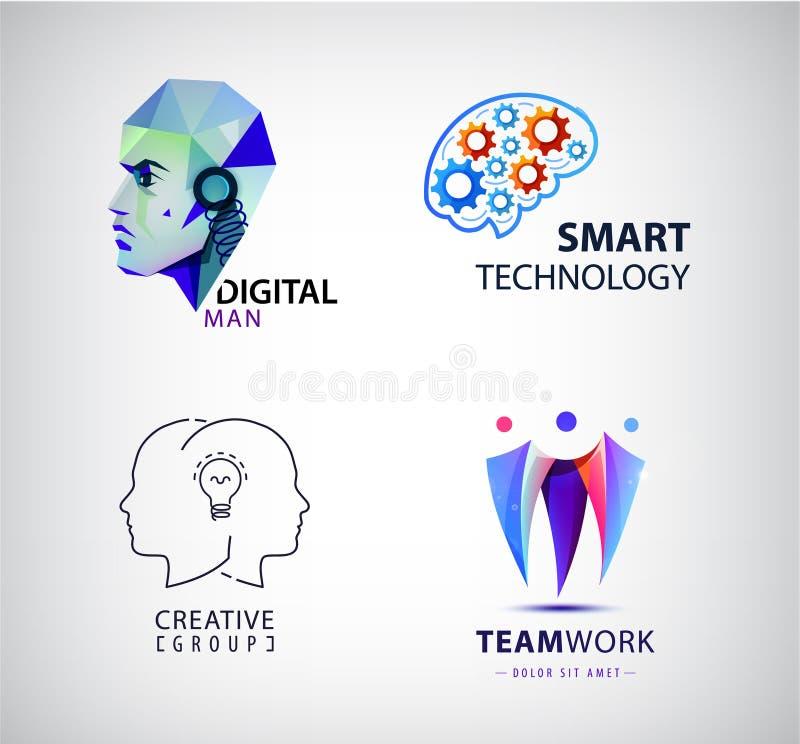 Insieme di vettore della mente virtuale, tecnologia astuta, cervello, robot, lavoro di squadra illustrazione vettoriale