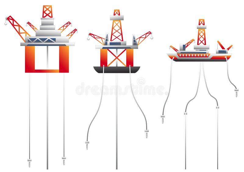 Insieme di vettore della piattaforma petrolifera illustrazione di stock