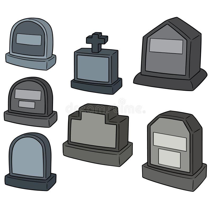 Insieme di vettore della pietra tombale royalty illustrazione gratis
