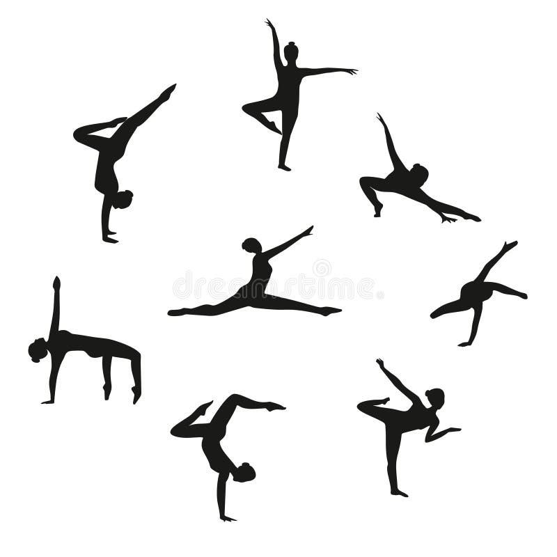 Insieme di vettore della ragazza di dancing della siluetta Insieme dei ballerini delle donne che ballano danza moderna illustrazione di stock