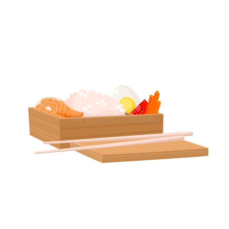 Insieme di vettore della scatola giapponese di bento isolata su bianco Alimento asiatico tradizionale royalty illustrazione gratis