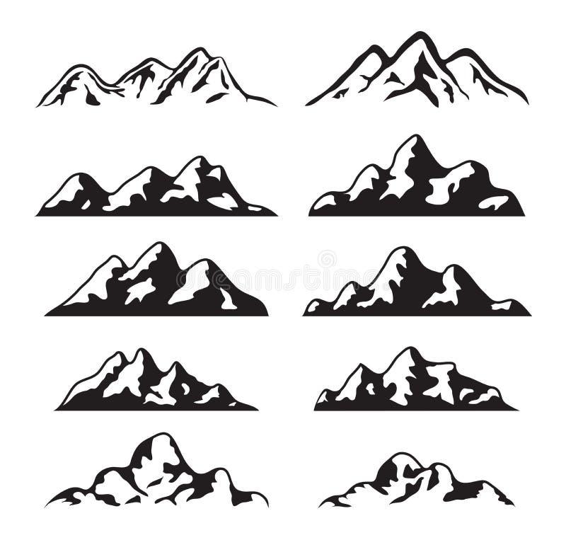 Insieme di vettore della siluetta in bianco e nero della montagna illustrazione vettoriale