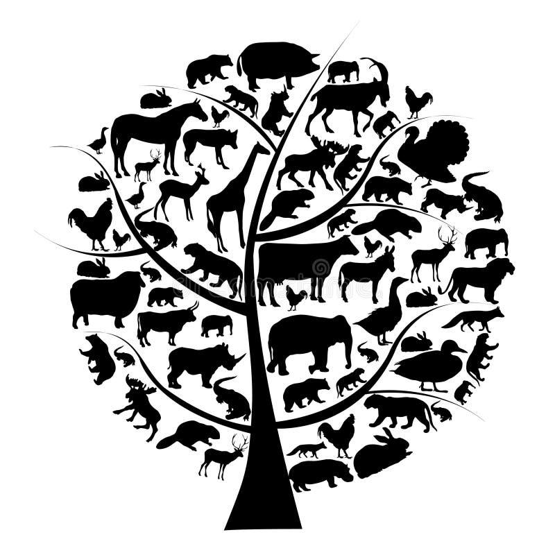 Insieme di vettore della siluetta degli animali sull'albero. illustrazione di stock