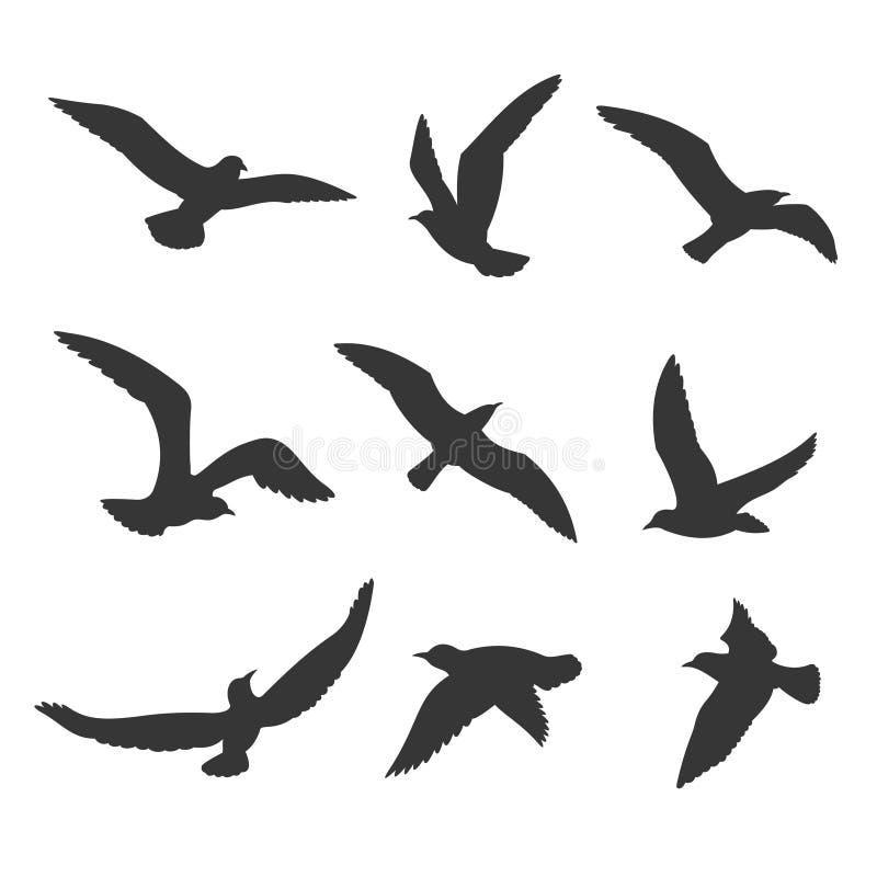 Insieme di vettore della siluetta degli uccelli di volo illustrazione vettoriale