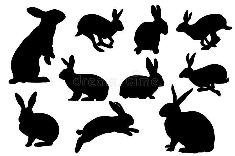 Insieme di vettore della siluetta del coniglietto fotografia stock libera da diritti