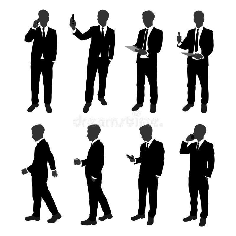 Insieme di vettore della siluetta dell'uomo d'affari del supporto uomo d'affari con azione differente come per mezzo del telefono illustrazione di stock