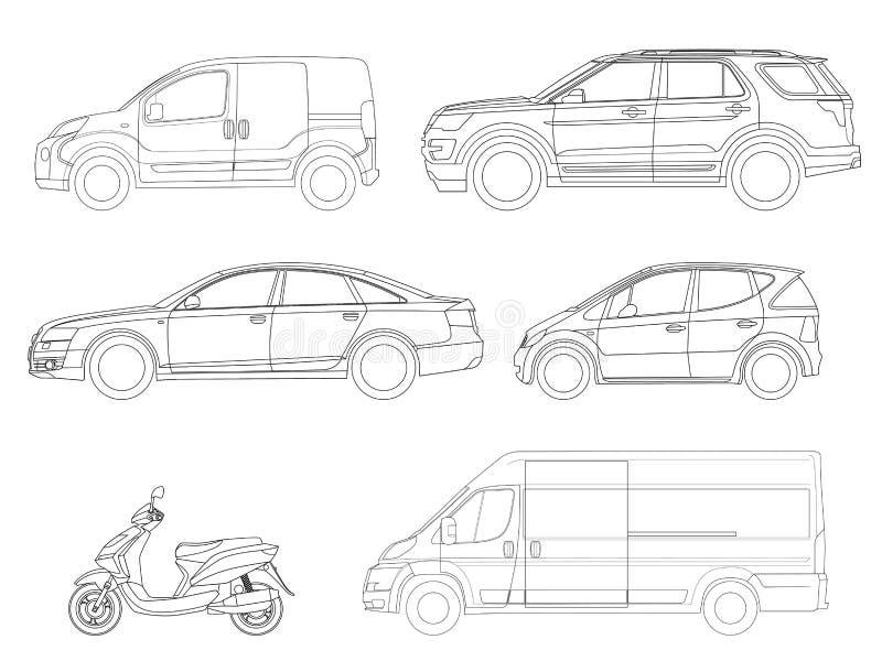 Insieme di vettore delle automobili delle icone del profilo Vista al trasporto laterale della città royalty illustrazione gratis