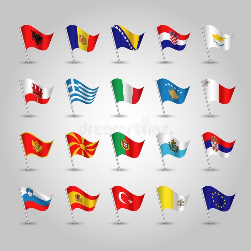 Insieme di vettore delle bandiere d'ondeggiamento Europa meridionale sul palo d'argento - icona degli stati illustrazione di stock