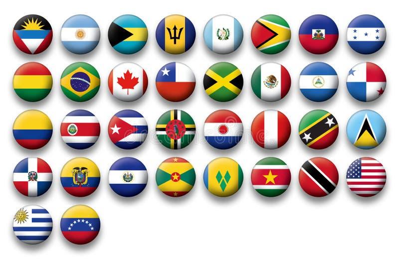 Insieme di vettore delle bandiere dei bottoni dell'America illustrazione di stock