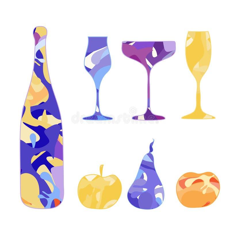 Insieme di vettore delle bottiglie del champagne, dei vetri di vino e dei frutti illustrazione vettoriale