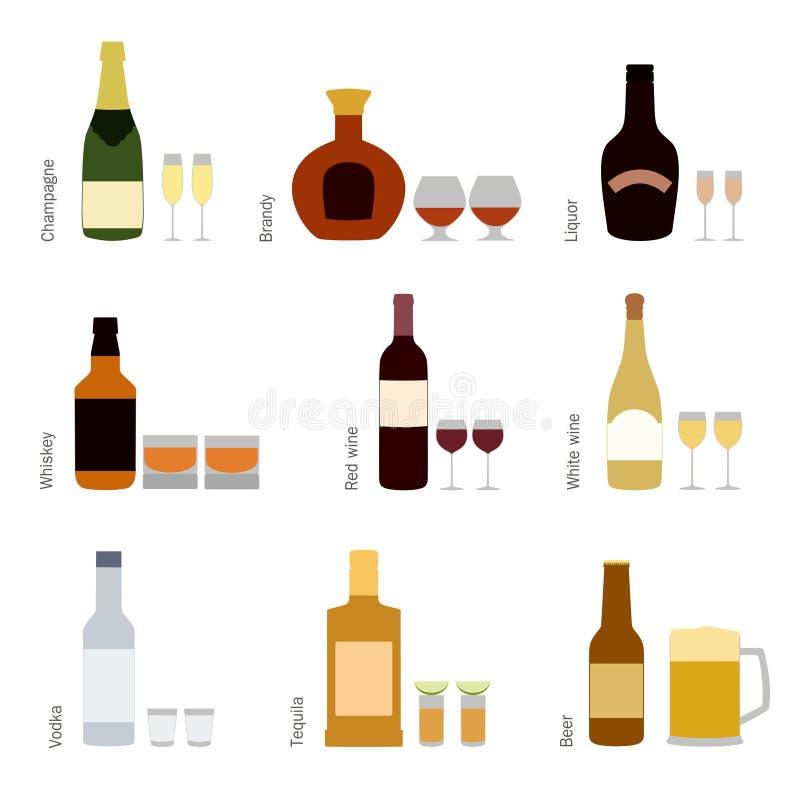 Insieme di vettore delle bottiglie dell'alcool con i vetri illustrazione di stock