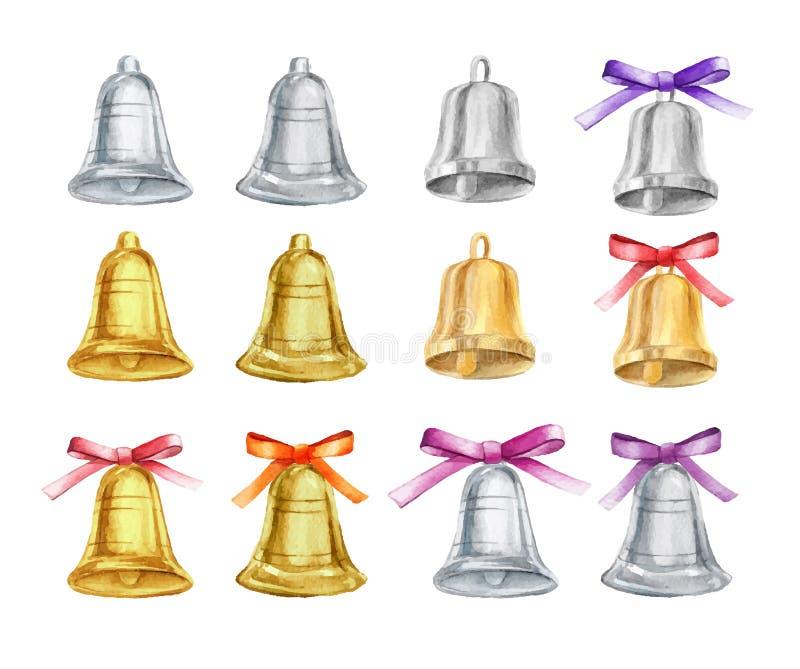 Insieme di vettore delle campane di Natale dell'argento e dell'oro con gli archi su fondo isolato Illustrazione dell'acquerello illustrazione vettoriale