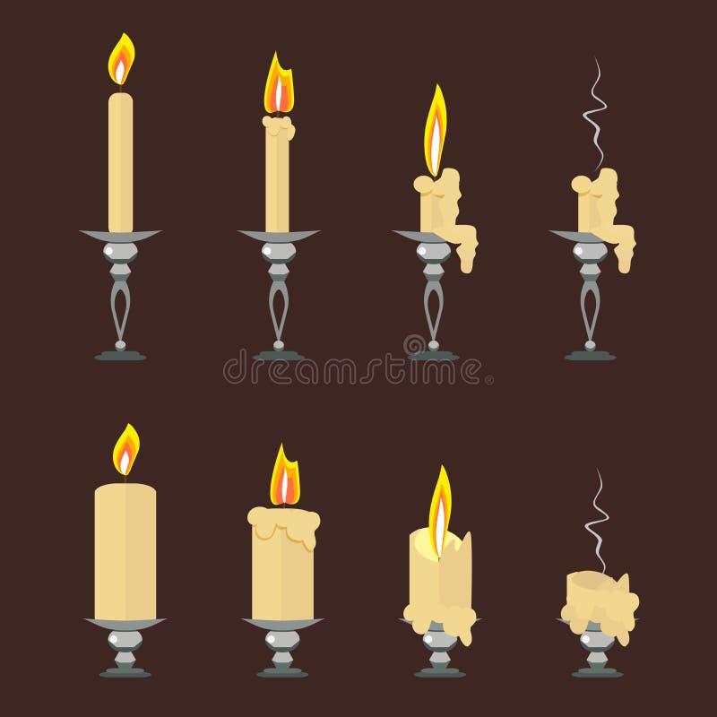 Insieme di vettore delle candele brucianti piane isolate sul fondo di marrone scuro Vettore, illustrazione nello stile piano EPS1 illustrazione vettoriale